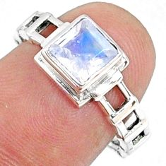 1.31cts natural rainbow moonstone octagan silver solitaire ring size 7 r68739
