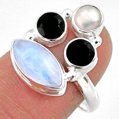 8.73cts natural rainbow moonstone onyx pearl 925 silver ring size 7.5 r63917