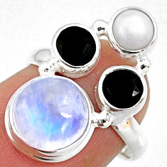 8.51cts natural rainbow moonstone onyx pearl 925 silver ring size 6.5 r63960
