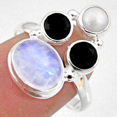 8.51cts natural rainbow moonstone onyx pearl 925 silver ring size 8 r63952