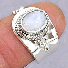 2.26cts natural rainbow moonstone oval 925 silver adjustable ring size 6 t8586