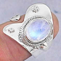4.06cts natural rainbow moonstone oval 925 silver adjustable ring size 7.5 t8572