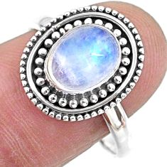 3.26cts natural rainbow moonstone oval 925 silver solitaire ring size 8.5 r57440