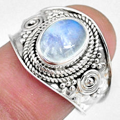 3.26cts natural rainbow moonstone oval 925 silver solitaire ring size 7 r58396