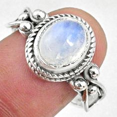 3.29cts natural rainbow moonstone oval 925 silver solitaire ring size 8 r68759