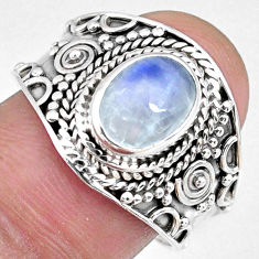 3.01cts natural rainbow moonstone oval 925 silver solitaire ring size 9 r58399