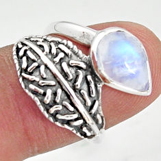 2.46cts natural rainbow moonstone pear 925 silver solitaire ring size 7 r36934