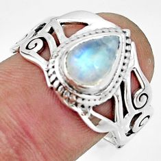 2.46cts natural rainbow moonstone pear 925 silver solitaire ring size 9 r26613
