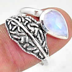 2.58cts natural rainbow moonstone pear 925 silver solitaire ring size 9 r36937
