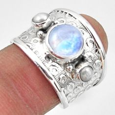 4.52cts natural rainbow moonstone pearl 925 silver solitaire ring size 7 r49817