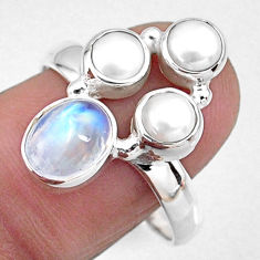 5.16cts natural rainbow moonstone pearl 925 sterling silver ring size 9.5 r57579
