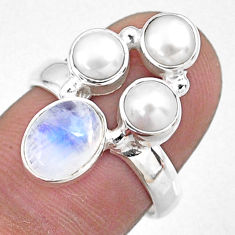 4.92cts natural rainbow moonstone pearl 925 sterling silver ring size 7 r57558