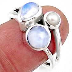 3.91cts natural rainbow moonstone pearl 925 sterling silver ring size 8 r54513