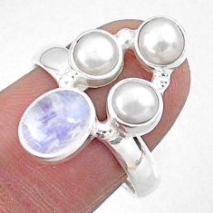 4.85cts natural rainbow moonstone pearl 925 sterling silver ring size 8 r57560
