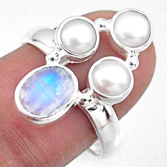 4.69cts natural rainbow moonstone pearl 925 sterling silver ring size 8 r57600