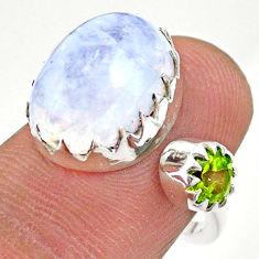 7.62cts natural rainbow moonstone peridot silver adjustable ring size 6 t43499