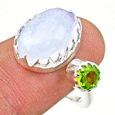 7.28cts natural rainbow moonstone peridot silver adjustable ring size 7 t43494