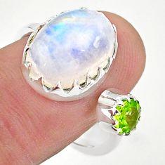 6.83cts natural rainbow moonstone peridot silver adjustable ring size 8 t43520