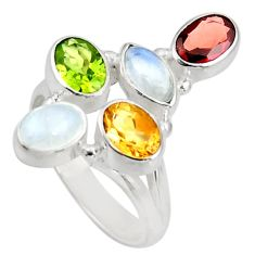Clearance Sale- 7.24cts natural rainbow moonstone peridot silver solitaire ring size 8 d39091