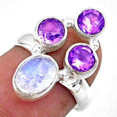 4.68cts natural rainbow moonstone purple amethyst 925 silver ring size 6 r57637