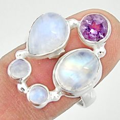 8.24cts natural rainbow moonstone purple amethyst 925 silver ring size 8 r22250