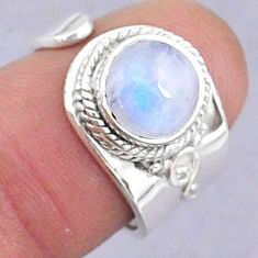 3.31cts natural rainbow moonstone round 925 silver adjustable ring size 6 t8591