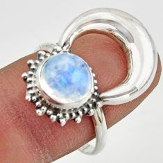 3.11cts natural rainbow moonstone round 925 silver half moon ring size 8 r41620