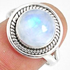 6.02cts natural rainbow moonstone round 925 silver solitaire ring size 7 r76352