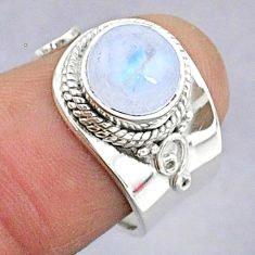 3.29cts natural rainbow moonstone round silver adjustable ring size 5.5 t8607