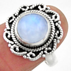 4.42cts natural rainbow moonstone round silver solitaire ring size 7.5 r52528
