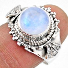 5.31cts natural rainbow moonstone round silver solitaire ring size 7.5 r53290