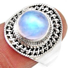 4.92cts natural rainbow moonstone round silver solitaire ring size 8.5 r53626