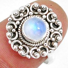 1.30cts natural rainbow moonstone round silver solitaire ring size 6.5 r58217