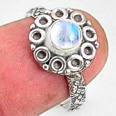 1.00cts natural rainbow moonstone round silver solitaire ring size 6.5 r64798
