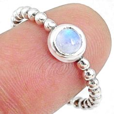 1.05cts natural rainbow moonstone round silver solitaire ring size 8.5 r68480