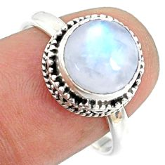 4.93cts natural rainbow moonstone round silver solitaire ring size 8.5 r73438