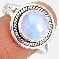 5.56cts natural rainbow moonstone round silver solitaire ring size 9.5 r76362