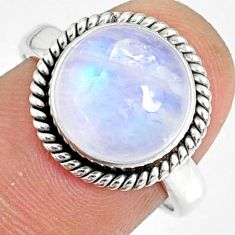 5.84cts natural rainbow moonstone round silver solitaire ring size 7.5 r76375
