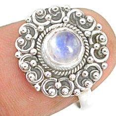 1.21cts natural rainbow moonstone round silver solitaire ring size 6.5 r76780