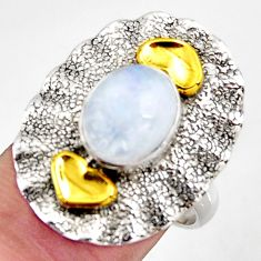 4.52cts natural rainbow moonstone silver 14k gold solitaire ring size 8 d46217