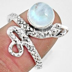 3.01cts natural rainbow moonstone silver snake solitaire ring size 7.5 r22562
