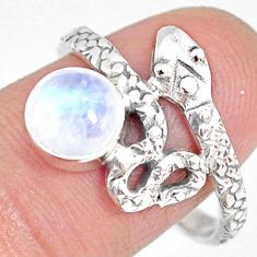 2.53cts natural rainbow moonstone silver snake solitaire ring size 8.5 r82539