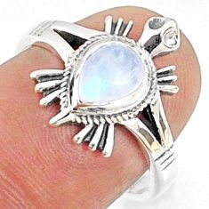 1.57cts natural rainbow moonstone silver tortoise solitaire ring size 7 r68956