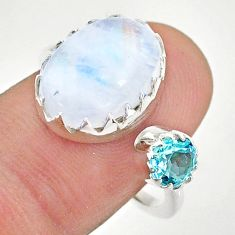 6.56cts natural rainbow moonstone topaz 925 silver adjustable ring size 7 t43510