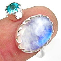 6.61cts natural rainbow moonstone topaz 925 silver adjustable ring size 8 r45032