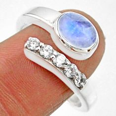 4.01cts natural rainbow moonstone topaz 925 silver adjustable ring size 9 r54576
