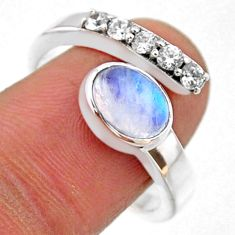 3.90cts natural rainbow moonstone topaz 925 silver adjustable ring size 9 r54579