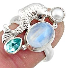 6.45cts natural rainbow moonstone topaz 925 silver fish ring size 7 r44926