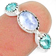 3.22cts natural rainbow moonstone topaz 925 sterling silver ring size 8 r68835