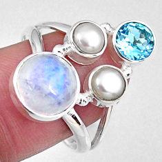 7.40cts natural rainbow moonstone topaz 925 sterling silver ring size 9 r58419